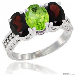 14K White Gold Natural Peridot & Garnet Sides Ring 3-Stone 7x5 mm Oval Diamond Accent