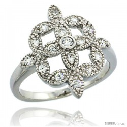 Sterling Silver Vintage Style Clover Flower Cluster Ring w/ Brilliant Cut CZ Stones, 11/16 in. (18 mm) wide
