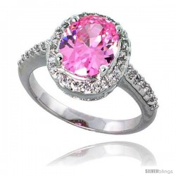 "Sterling Silver Vintage Style Engagement ring, w/ a 10 x 8 mm (3.0 ct) Oval Cut Pink-colored CZ Stone, 1/2"" (13 mm) wide"