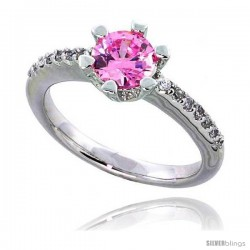 "Sterling Silver Vintage Style Engagement ring, w/ a 6mm (.75 ct) Round Pink-colored CZ Stone, 5/16"" (8 mm) wide"