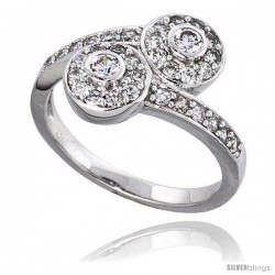 "Sterling Silver Vintage Style Engagement ring, w/ CZ Stones, 1/2"" (12 mm) wide"