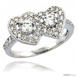 Sterling Silver Double Heart Ring w/ Brilliant Cut CZ Stones, 3/8 in. (10 mm) wide