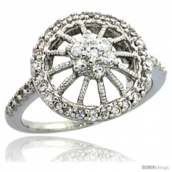 Sterling Silver Vintage Style Flower Wheel Ring w/ Brilliant Cut CZ Stones, 9/16 in. (14.5 mm) wide