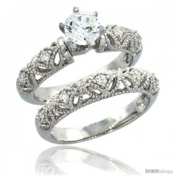 Sterling Silver Vintage Style 2-Pc. Engagement Ring Set w/ Brilliant Cut CZ Stones, 5/16 in. (8 mm) wide