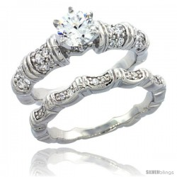 Sterling Silver Vintage Bamboo Style 2-Pc. Engagement Ring Set w/ Brilliant Cut CZ Stones, 1/4 in. (7 mm) wide