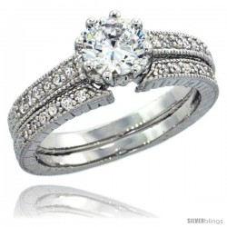 Sterling Silver Vintage Style 2-Pc. Engagement Ring Set w/ Brilliant Cut CZ Stones, 3/16 in. (5 mm) wide