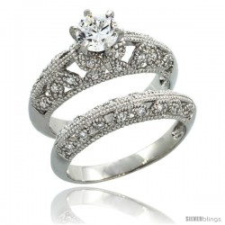 Sterling Silver Vintage Style Multi-Butterfly 2-Pc. Engagement Ring Set w/ Brilliant Cut CZ Stones, 3/8 in. (10 mm) wide