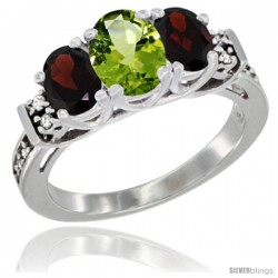 14K White Gold Natural Peridot & Garnet Ring 3-Stone Oval with Diamond Accent
