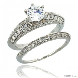 Sterling Silver Vintage Style 2-Pc. Engagement Ring Set w/ Brilliant Cut CZ Stones, 1/4 in. (6 mm) wide