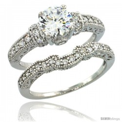 Sterling Silver Vintage Style 2-Pc. Engagement Ring Set w/ Brilliant Cut CZ Stones, 1/4 in. (6 mm) wide -Style Lr00461a