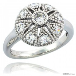 Sterling Silver Vintage Style Flower Star Cut Out Engagement Ring w/ Brilliant Cut CZ Stones, 1/2 in. (13 mm) wide