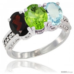14K White Gold Natural Garnet, Peridot & Aquamarine Ring 3-Stone 7x5 mm Oval Diamond Accent