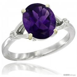 10k White Gold Diamond Amethyst Ring 2.4 ct Oval Stone 10x8 mm, 3/8 in wide