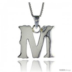 Sterling Silver Block Initial Letter M Aphabet Pendant Highly Polished, 3/4 in tall