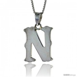 Sterling Silver Block Initial Letter N Aphabet Pendant Highly Polished, 3/4 in tall