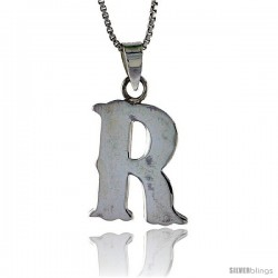 Sterling Silver Block Initial Letter R Aphabet Pendant Highly Polished, 3/4 in tall