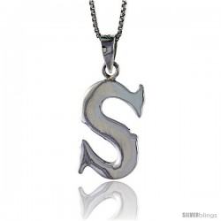 Sterling Silver Block Initial Letter S Aphabet Pendant Highly Polished, 3/4 in tall