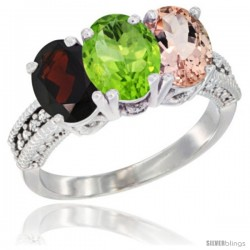 14K White Gold Natural Garnet, Peridot & Morganite Ring 3-Stone 7x5 mm Oval Diamond Accent