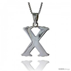 Sterling Silver Block Initial Letter X Aphabet Pendant Highly Polished, 3/4 in tall