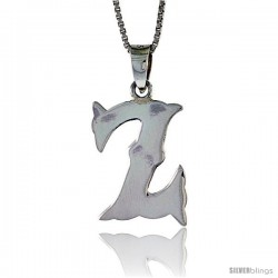 Sterling Silver Block Initial Letter Z Aphabet Pendant Highly Polished, 3/4 in tall
