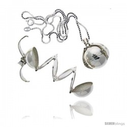 Sterling Silver Photo Ball Locket For Six Pictures, 9/16 in