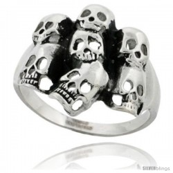 Surgical Steel Biker Skull Ring Yard 7/8 in wide