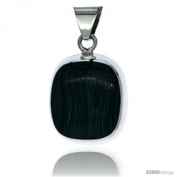 Sterling Silver Large Malachite Pendant, 1 11/16 in tall