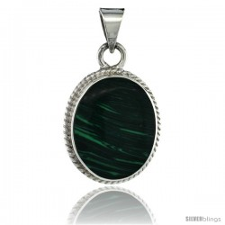 Sterling Silver Oval Malachite Pendant w/ Braided Rope Edge, 1 3/8 in tall