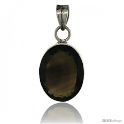 Sterling Silver Oval Smoky Quartz Stone Pendant 1 5/16 in tall