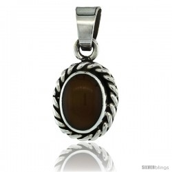 Sterling Silver Oval Tiger Eye Stone Pendant w/ Braided Rope Edge, 1 in tall