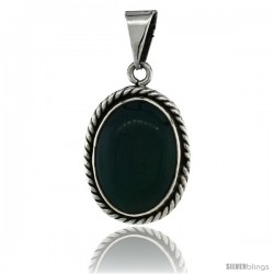 Sterling Silver Oval Malachite Stone Pendant w/ Braided Rope Edge, 1 in tall
