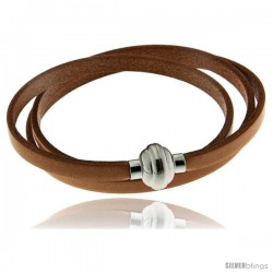 Surgical Steel Italian Leather Wrap Massai Bracelet w/ Super Magnet Clasp, Color Tan