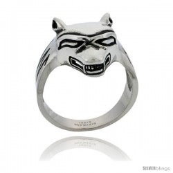Surgical Steel Biker Ring Wolf 1 in wide
