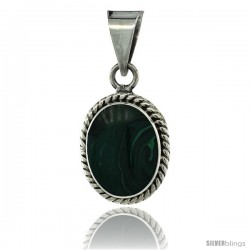 Sterling Silver Oval Malachite Stone Pendant w/ Braided Rope Edge, 1 1/8 in tall
