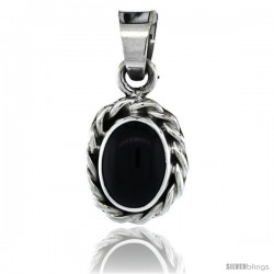 Sterling Silver Oval Black Obsidian Stone Pendant w/ Braided Rope Edge, 1 in tall