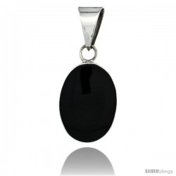Sterling Silver Large Oval Black Obsidian Stone Pendant 1 9/16 in tall