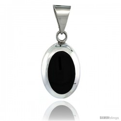 Sterling Silver Large Oval Black Obsidian Stone Pendant 1 3/4 in tall