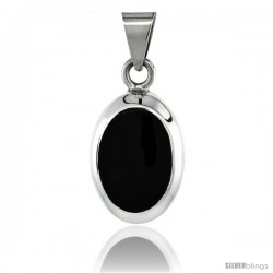 Sterling Silver Black Obsidian Pendant Large Oval Shape, 1 1/2 in tall