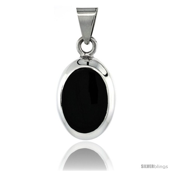 Sterling silver black obsidian pendant large oval shape 1 12 in undefined aloadofball Choice Image