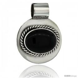 Sterling Silver Black Obsidian Slide Pendant Oval Stone Round Base, 1 3/16