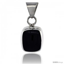 Sterling Silver Black Obsidian Pendant Round Edge Square, 7/8 in tall