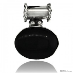 Sterling Silver Black Obsidian Slide Pendant Large Oval, 1 in wide