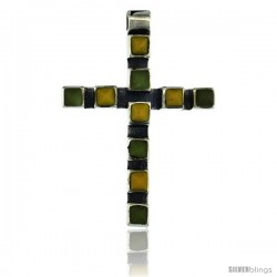 Sterling Silver Latin Cross Pendant Slide, w/ Pyramid-shaped Yellow & Green Stones 1 5/8 in tall