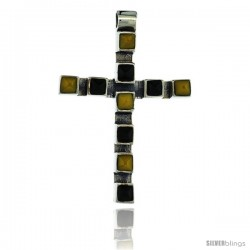 Sterling Silver Latin Cross Pendant Slide, w/ Pyramid-shaped Yellow & Black Stones 1 5/8 in tall