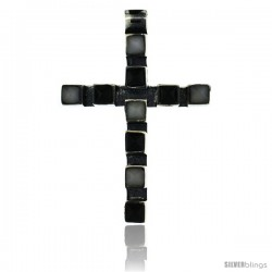 Sterling Silver Latin Cross Pendant Slide, w/ Pyramid-shaped White & Black Stones 1 5/8 in tall