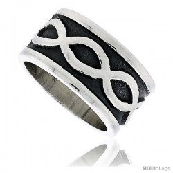 Sterling Silver Southwest Design Infinity Symbols Ring Handmade 1/2 in wide