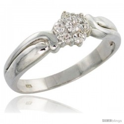 Highest Quality Sterling Silver 1/4 in (7 mm) wide Floral Cluster Stone Ring, Brilliant Cut CZ Stones