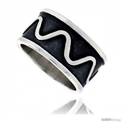 Sterling Silver Southwest Design Wave Pattern Ring Handmade 1/2 in wide