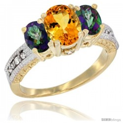 14k Yellow Gold Ladies Oval Natural Citrine 3-Stone Ring with Mystic Topaz Sides Diamond Accent