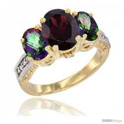 14K Yellow Gold Ladies 3-Stone Oval Natural Garnet Ring with Mystic Topaz Sides Diamond Accent